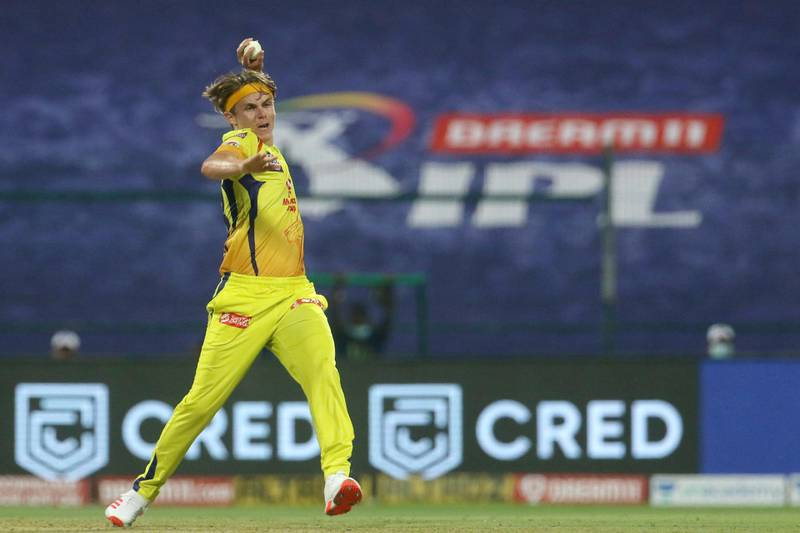 Sam Curran of Chennai Superkings  fields of his own bowling during match 1 of season 13 of the Dream 11 Indian Premier League (IPL) between the Mumbai Indians and the Chennai Superkings held at the Sheikh Zayed Stadium, Abu Dhabi in the United Arab Emirates on the 19th September 2020.  Photo by: Vipin Pawar  / Sportzpics for BCCI