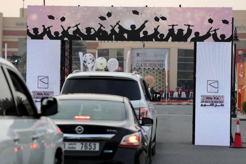 Ajman, United Arab Emirates - Reporter: Anam Rizvi. News. Students wait for their drive through graduation from Ajman University because of Covid-19. Wednesday, February 10th, 2021. Ajman. Chris Whiteoak / The National