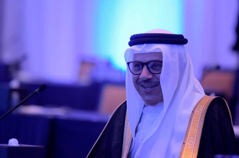 Bahraini Minister of Foreign Affairs Abdullatif bin Rashid al-Zayani, attends the opening session of the Manama Dialogue security conference in the Bahraini capital, on December 4, 2020.  / AFP / Mazen Mahdi
