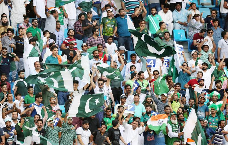 DUBAI , UNITED ARAB EMIRATES, September 19 , 2018 :- Supporters of India and Pakistan during the Asia Cup UAE 2018 cricket match between Pakistan vs India held at Dubai International Cricket Stadium in Dubai. ( Pawan Singh / The National )  For News/Sports/Instagram/Big Picture. Story by Paul