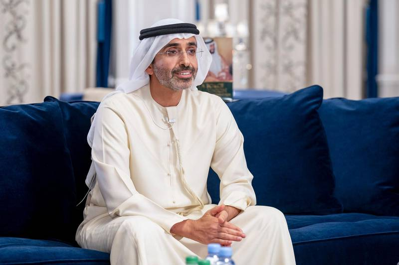 """ABU DHABI, UNITED ARAB EMIRATES - May 03, 2021: HH Sheikh Diab bin Zayed Al Nahyan participates in an online lecture titled """"For the Greater Good: Innovations for more Resilient Global Communities"""", during the online series of Majlis Mohamed bin Zayed.  ( Hamad Al Kaabi / Ministry of Presidential Affairs ) ---"""