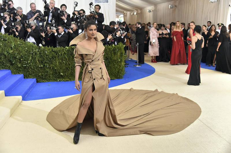 """NEW YORK, NY - MAY 01:  Priyanka Chopra attends the """"Rei Kawakubo/Comme des Garcons: Art Of The In-Between"""" Costume Institute Gala at Metropolitan Museum of Art on May 1, 2017 in New York City.  (Photo by Mike Coppola/Getty Images for People.com)"""