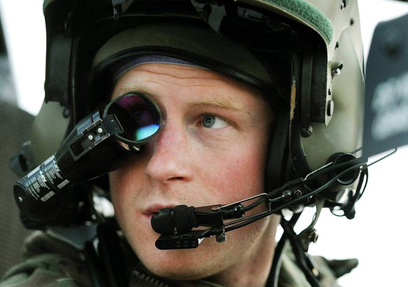 CAMP BASTION, AFGHANISTAN - DECEMBER 12:  In this image released on January 21, 2013, Prince Harry, wears his monocle gun sight as he sits in the front seat of his cockpit at the British controlled flight-line at Camp Bastion on December 12, 2012 in Afghanistan. Prince Harry has served as an Apache Helicopter Pilot/Gunner with 662 Sqd Army Air Corps, from September 2012 for four months until January 2013.  (Photo by John Stillwell - WPA Pool/Getty Images) *** Local Caption ***  159839279.jpg fo23ja-UKDirtyHarry.jpg