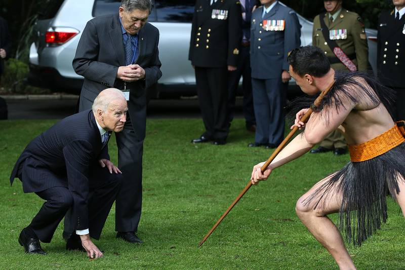 AUCKLAND, NEW ZEALAND - JULY 21:  US Vice-President Joe Biden (L) with Kaumatua Lewis Moeau (R) experiences a traditional Maori welcome at Government House on July 21, 2016 in Auckland, New Zealand. Biden is visiting New Zealand on a two day trip which includes meetings community and business leaders, a visit to Government House and a wreath laying ceremony at the Auckland War Memorial Museum.  (Photo by Fiona Goodall/Getty Images)