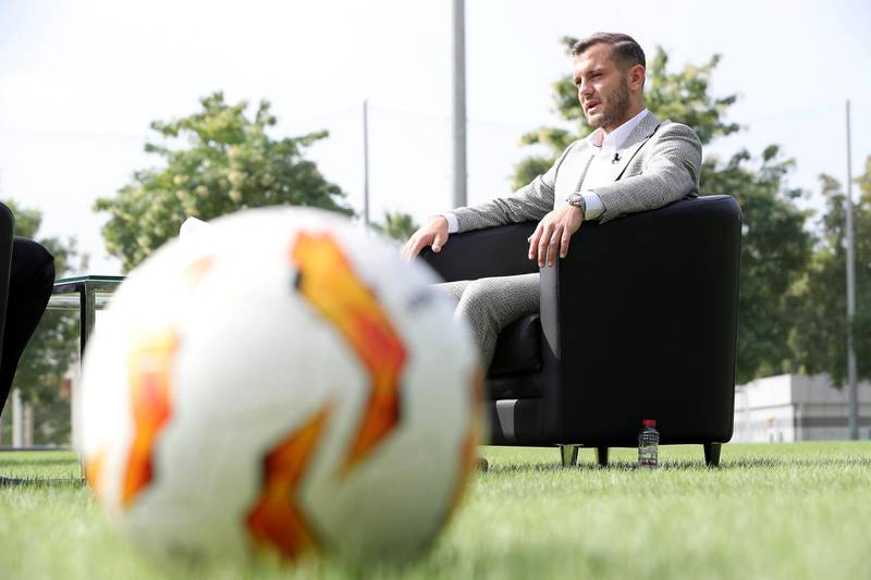 DUBAI , UNITED ARAB EMIRATES , November 25 – 2020 :- Jack Wilshere, an English Professional Footballer during the interview at the NAS sports complex  in Dubai. ( Pawan Singh / The National ) For Sports/Online/Instagram. Story by Paul Radley