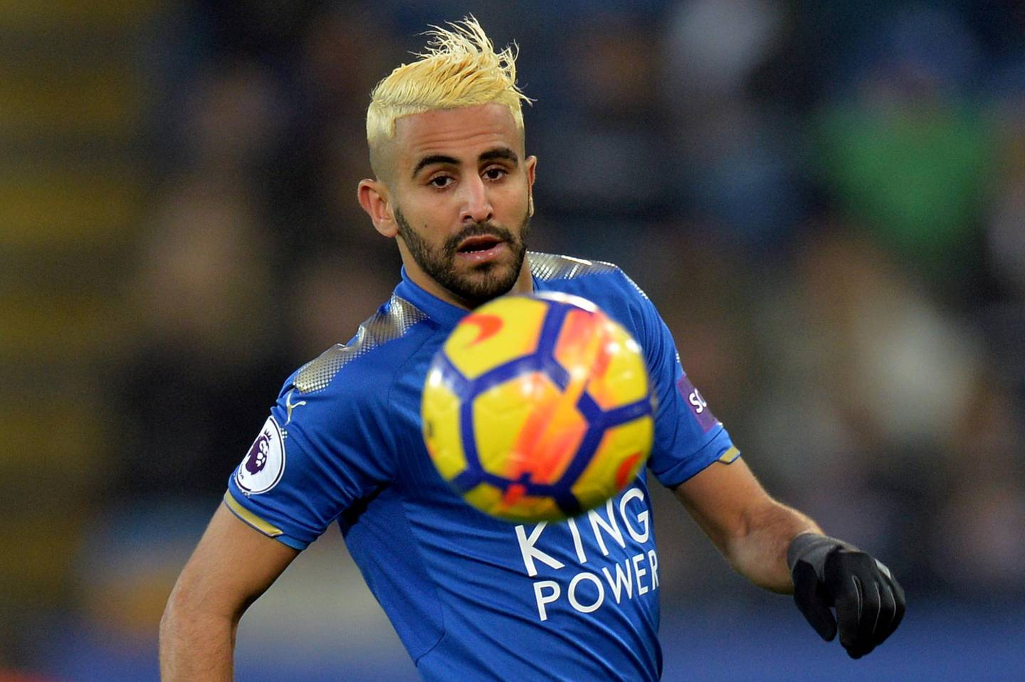 """Soccer Football - Premier League - Leicester City vs Burnley - King Power Stadium, Leicester, Britain - December 2, 2017   Leicester City's Riyad Mahrez in action    REUTERS/Peter Powell    EDITORIAL USE ONLY. No use with unauthorized audio, video, data, fixture lists, club/league logos or """"live"""" services. Online in-match use limited to 75 images, no video emulation. No use in betting, games or single club/league/player publications. Please contact your account representative for further details."""