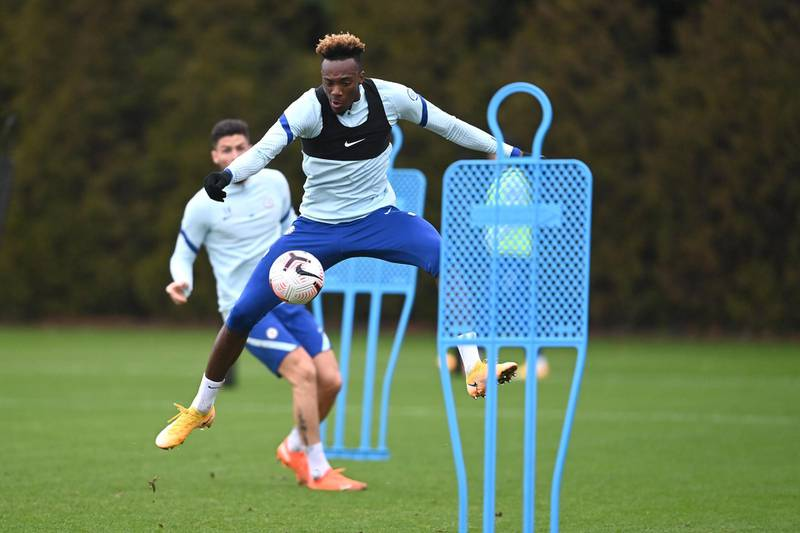 COBHAM, ENGLAND - DECEMBER 18:  Tammy Abraham of Chelsea during a training session at Chelsea Training Ground on December 18, 2020 in Cobham, England. (Photo by Darren Walsh/Chelsea FC via Getty Images)