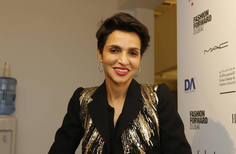 Dubai, United Arab Emirates - October 21, 2016.  Farida Khelfa ( Schiaparelli Ambassador and Filmmaker ) at the ongoing Fashion Forward ( FFWD ) event, held at District 3.  ( Jeffrey E Biteng / The National )  Editor's Note; ID 60748 *** Local Caption ***  JB211016-FKhelfa06.jpg