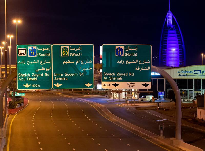 Dubai, United Arab Emirates - Reporter: N/A: A very quite Umm Suqeim road just before the public restrictions starting at 8pm. Thursday, March 26th, 2020. Dubai. Chris Whiteoak / The National
