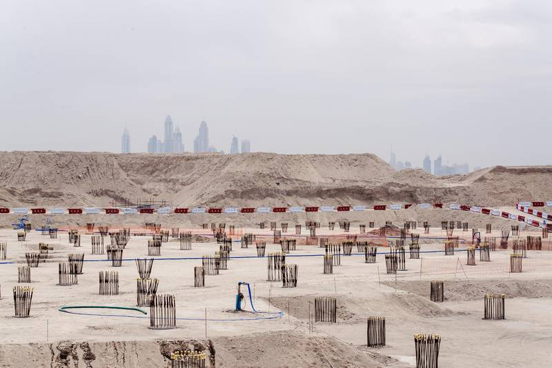 Dubai, UAE. March 7th 2016. Dubai Marina, seen over the top of construction work on the Palm Island. Alex Atack for The National. *** Local Caption ***  AA_070316_PalmDubaiStock-10.jpg