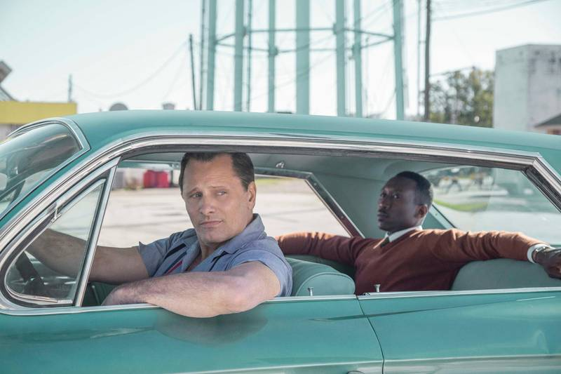 """Viggo Mortensen as Tony Vallelonga and Mahershala Ali as Dr. Donald Shirley in """"Green Book,"""" directed by Peter Farrelly. Photo Credit: Patti Perret/Universal Pictures, Participant, and DreamWorks"""