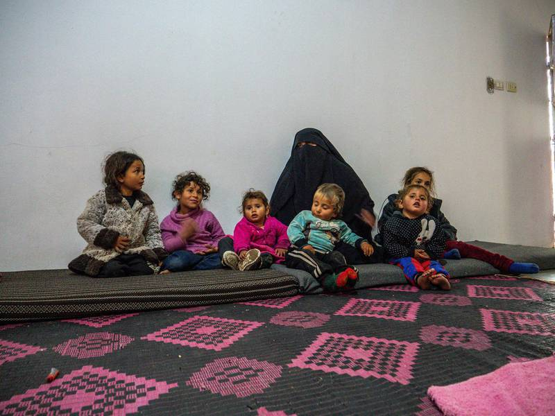 Hind Saleh Omar lives in a half built house with her children in Al Mansoura, Raqqa, after being released from Al Hol camp at the start of this year. Luke Pierce for The National