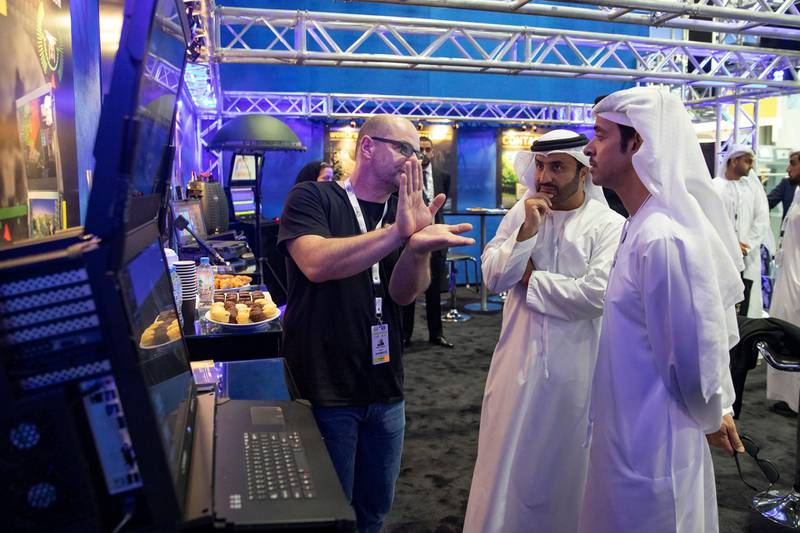 ABU DHABI, UNITED ARAB EMIRATES - February 16, 2019: HH Sheikh Hazza bin Zayed Al Nahyan, Vice Chairman of the Abu Dhabi Executive Council (R), tours the 2019 International Defence Exhibition and Conference (IDEX), at Abu Dhabi National Exhibition Centre (ADNEC).  ( Mohamed Al Bloushi ) ---