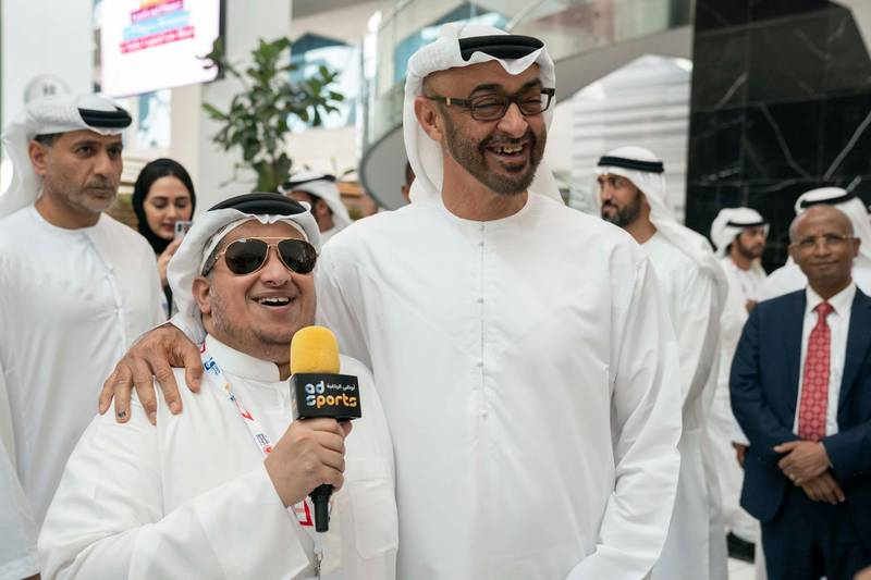 ABU DHABI, UNITED ARAB EMIRATES - March 18, 2019: HH Sheikh Mohamed bin Zayed Al Nahyan, Crown Prince of Abu Dhabi and Deputy Supreme Commander of the UAE Armed Forces (R) tours the Special Olympics World Games Abu Dhabi 2019, at Abu Dhabi National Exhibition Centre (ADNEC).  ( Ryan Carter / Ministry of Presidential Affairs )? ---