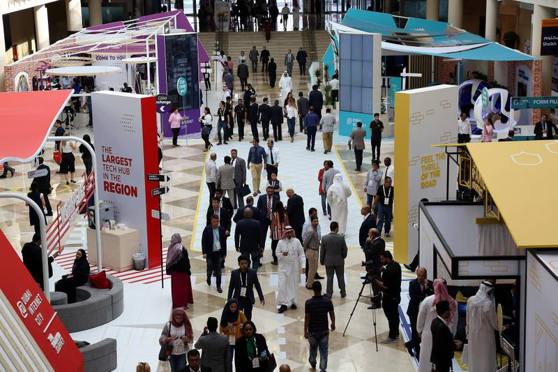 Dubai, 08, Oct, 2017 : Visitors attend  the  37th Gitex Technology Week at the World Trade Centre in Dubai. Satish Kumar / For the National