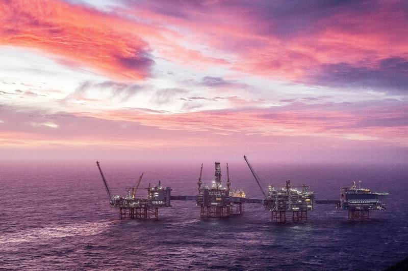 FILE PHOTO: A view of the Johan Sverdrup oilfield in the North Sea, January 7, 2020. Carina Johansen/NTB Scanpix/via REUTERS   ATTENTION EDITORS - THIS IMAGE WAS PROVIDED BY A THIRD PARTY. NORWAY OUT//File Photo