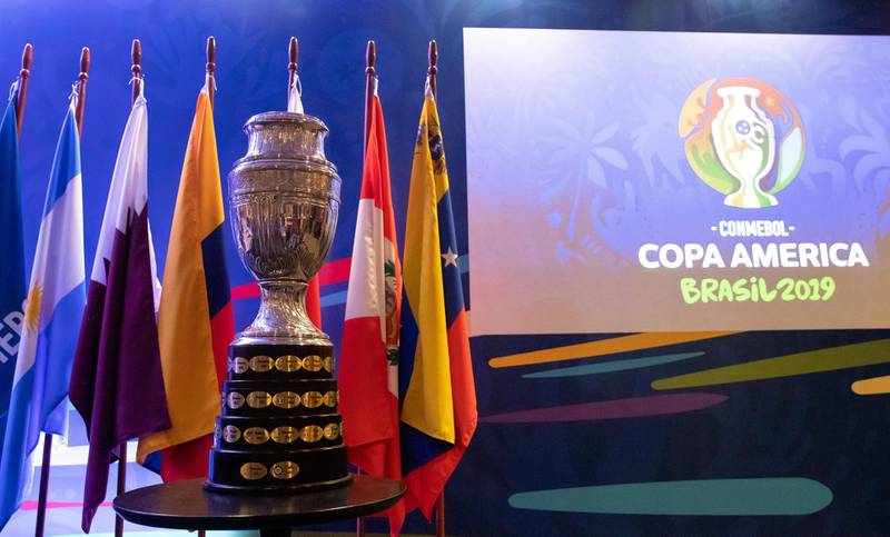 RIO DE JANEIRO, BRAZIL - JANUARY 22: The Copa America Trophy is displayed during a meeting between representatives of the twelve nations who will take part in the 2019 Copa America football tournament and the competition's local organizing committee on January 22, 2019 in Rio de Janeiro, Brazil. The Copa America Tournament will be hosted in Brazil between June 14 and July 7. (Photo by Buda Mendes/Getty Images)