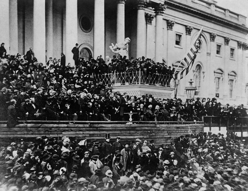 (Original Caption) Historic picture found of inauguartion of President Lincoln whose birthday is celebrated next month. (Photo by © Hulton-Deutsch Collection/CORBIS/Corbis via Getty Images)