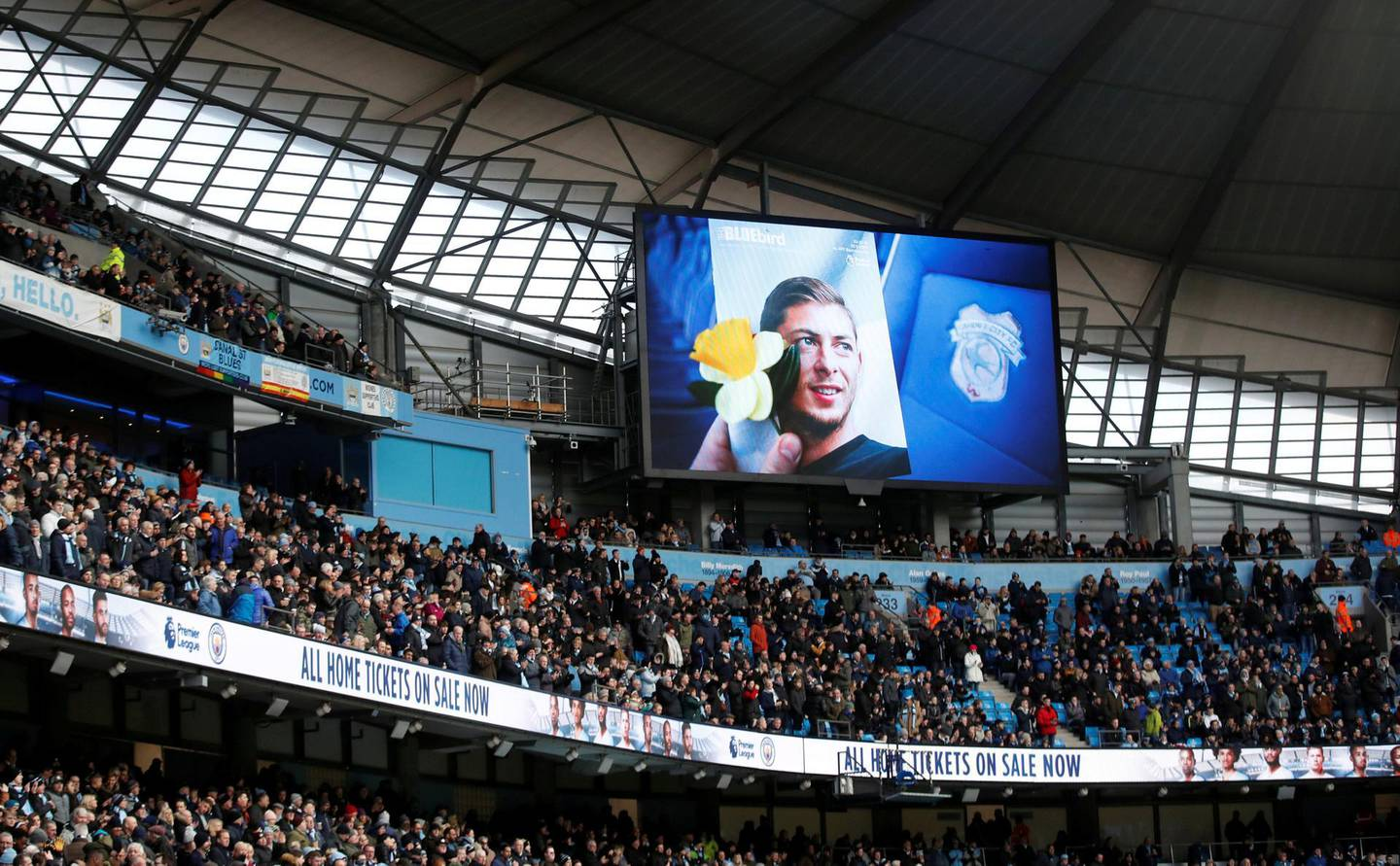 """FILE PHOTO: Soccer Football - Premier League - Manchester City v Chelsea - Etihad Stadium, Manchester, Britain - February 10, 2019  General view of the big screen paying tribute to Emiliano Sala before the match        Action Images via Reuters/Carl Recine  EDITORIAL USE ONLY. No use with unauthorized audio, video, data, fixture lists, club/league logos or """"live"""" services. Online in-match use limited to 75 images, no video emulation. No use in betting, games or single club/league/player publications.  Please contact your account representative for further details./File Photo"""