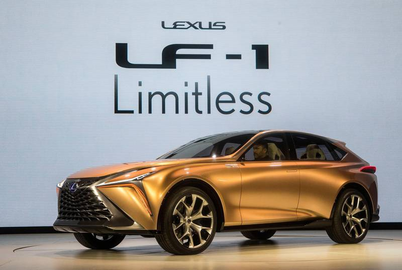 FILE- In a Jan. 5, 2018, file photo, the Lexus LF-1 Limitless concept vehicle is presented at the North American International Auto Show in Detroit. Japanese vehicle brands are exploring new design ideas, and figuring out what sets them apart from their U.S. and European rivals, with new prototype vehicles. Nissan, Infiniti and Lexus are all unveiling new concept cars at the Detroit auto show, which opens to the public, Saturday, Jan. 20. (AP Photo/Tony Ding, File)