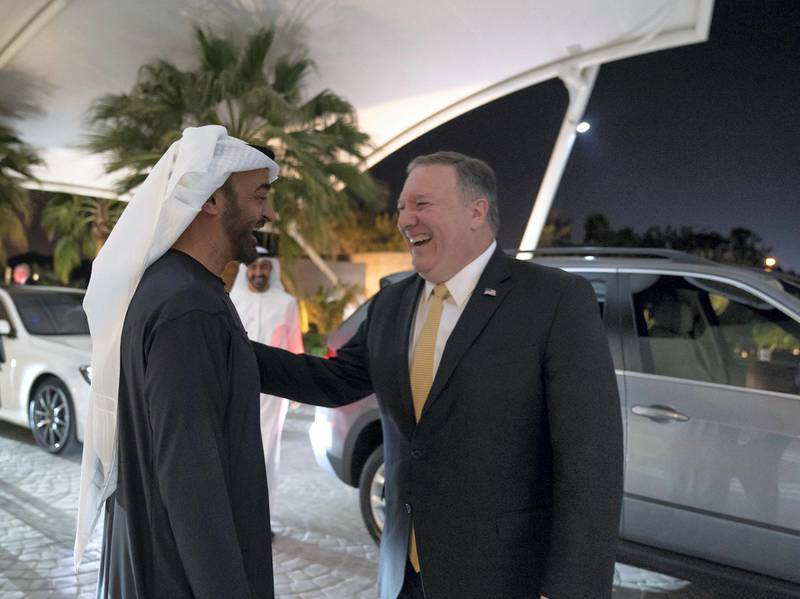 ABU DHABI, UNITED ARAB EMIRATES - January 12, 2019: HH Sheikh Mohamed bin Zayed Al Nahyan, Crown Prince of Abu Dhabi and Deputy Supreme Commander of the UAE Armed Forces (L), greets Michael Pompeo, US Secretary of State (R), upon his arrival at Al Shati Palace.  ( Mohamed Al Hammadi / Ministry of Presidential Affairs ) ---
