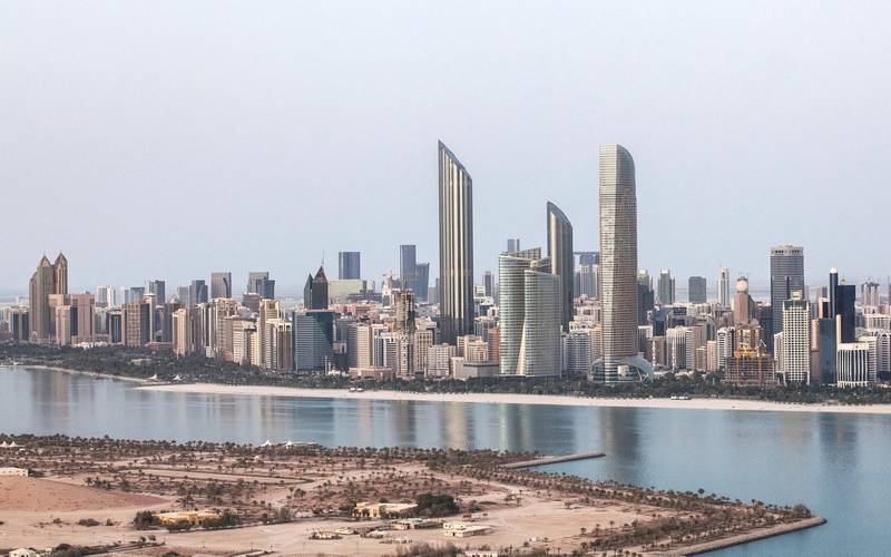 Abu Dhabi, United Arab Emirates. May 24, 2015///Abu Dhabi skyline, view from Fairmont construction site near Marina Mall, for stock. Abu Dhabi, United Arab Emirates. The  Burj Mohammed Bin Rashid Tower is the tall pointed tower on the left. Mona Al Marzooqi/ The National Section: National  *** Local Caption ***  150524-MM-Fairmont-ADskyline-007.JPG