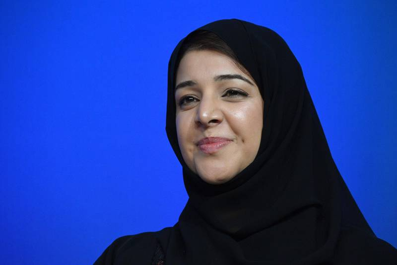 """Reem al Hashimy, the United Arab Emirates Minister of State for International Cooperation attends a session named """"Taking women-owned businesses to the next level"""" as part of the World Bank and International Monetary Fund annual meetings in Washington, DC, on October 14, 2017. / AFP PHOTO / JIM WATSON"""