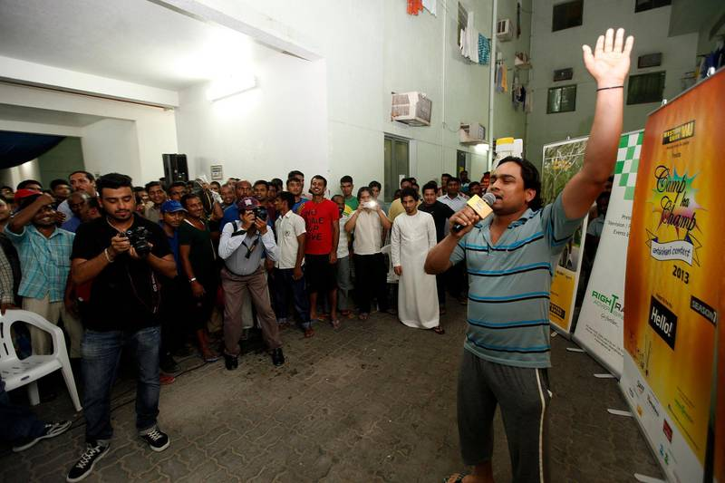 """Dubai, United Arab Emirates- August, 14, 2013:  Radhey Shyam from Nepal sings during the first Auditions for """"Camp Ka Champ"""" at the Labour Camp  in Dubai  . ( Satish Kumar / The National ) For News/ Story by Eugene Harnan *** Local Caption ***  SK100-CampKaChamp-01.jpg"""