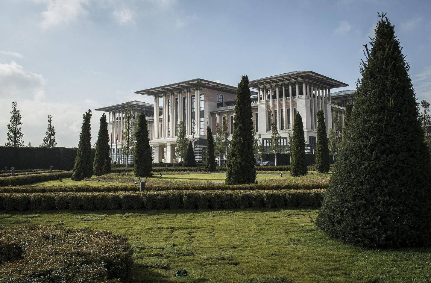 ANKARA, TURKEY - OCTOBER 28: A general view of Turkey's new Presidential Palace, built inside Ataturk Forest Farm and going to be used for Turkey's 91st Republic Day Reception which is going to be hosted by Turkish President Recep Tayyip Erdogan and First Lady Emine Erdogan on October 29, in Ankara, Turkey on October 28, 2014. (Photo by Ozge Elif Kizil/Anadolu Agency/Getty Images)