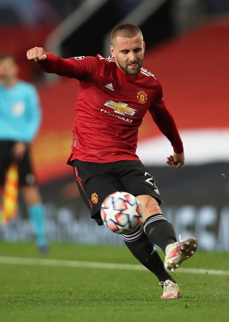 MANCHESTER, ENGLAND - OCTOBER 28: Luke Shaw of Manchester United in action during the UEFA Champions League Group H stage match between Manchester United and RB Leipzig at Old Trafford on October 28, 2020 in Manchester, England. Sporting stadiums around the UK remain under strict restrictions due to the Coronavirus Pandemic as Government social distancing laws prohibit fans inside venues resulting in games being played behind closed doors. (Photo by Clive Brunskill/Getty Images)