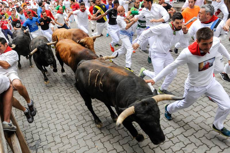 PAMPLONA, SPAIN - JULY 13:  Revellers run with Nunez del Cuvillo's fighting bulls during the eighth day of the San Fermin Running of the Bulls festival  on July 13, 2017 in Pamplona, Spain. The annual Fiesta de San Fermin, made famous by the 1926 novel of US writer Ernest Hemmingway entitled 'The Sun Also Rises', involves the daily running of the bulls through the historic heart of Pamplona to the bull ring. (Photo by Gari Garaialde/Getty Images)