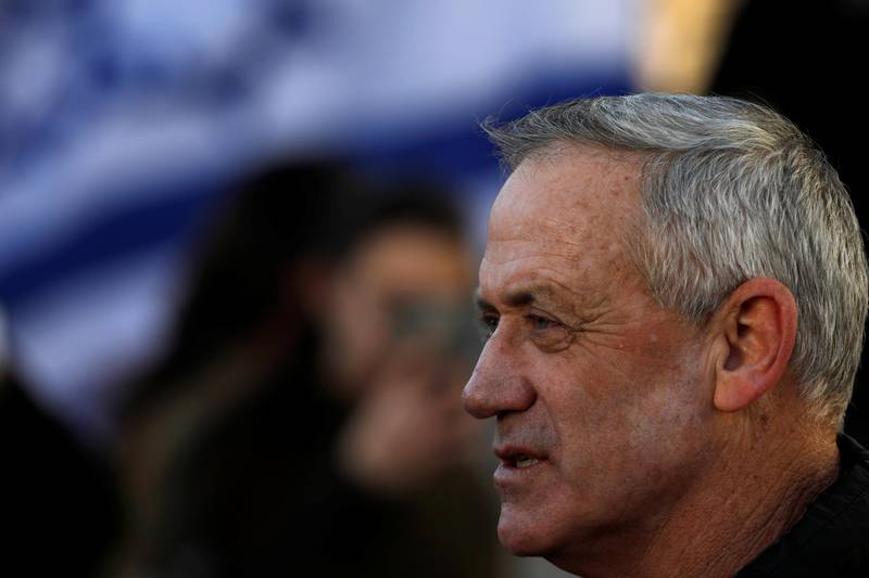 Benny Gantz, a former Israeli armed forces chief and the head of a new political party, Israel Resilience, attends a handover ceremony for the incoming Israeli Chief of Staff Aviv Kohavi, at the Defense ministry in Tel Aviv, Israel January 15, 2019. REUTERS/Amir Cohen