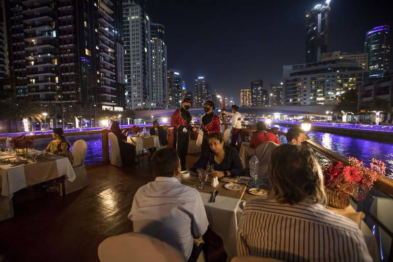 Dubai, United Arab Emirates - A special night for the Big Ticket winners as they tour the marina at the gathering of of Abu Dhabi Big Ticket winners at Alexandra Dhow Cruise, Dubai Marina.  Leslie Pableo for The National for Sarwat Nasir's story