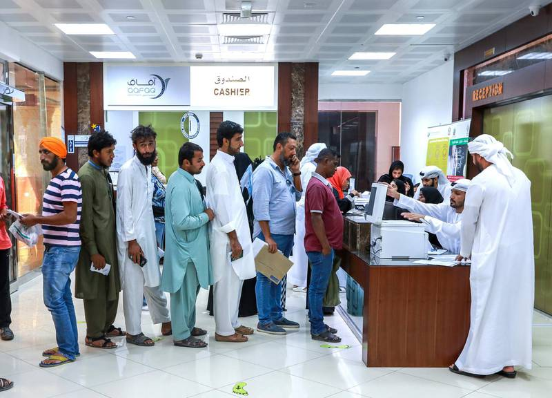Abu Dhabi, U.A.E., October 29, 2018.  Two days from the deadline of UAE Amnesty.  Amnesty seekers at the Tasheel centre at Al Raha mall.Victor Besa / The NationalSection:  NAReporter:  Haneen Dajani