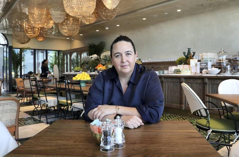 DUBAI, UNITED ARAB EMIRATES , June 18  – 2020 :- Natasha Sideris, owner of the Tashas café at the Galleria Mall in Al Barsha in Dubai.  (Pawan Singh / The National) For Lifestyle. Story by Ashleigh Stewart