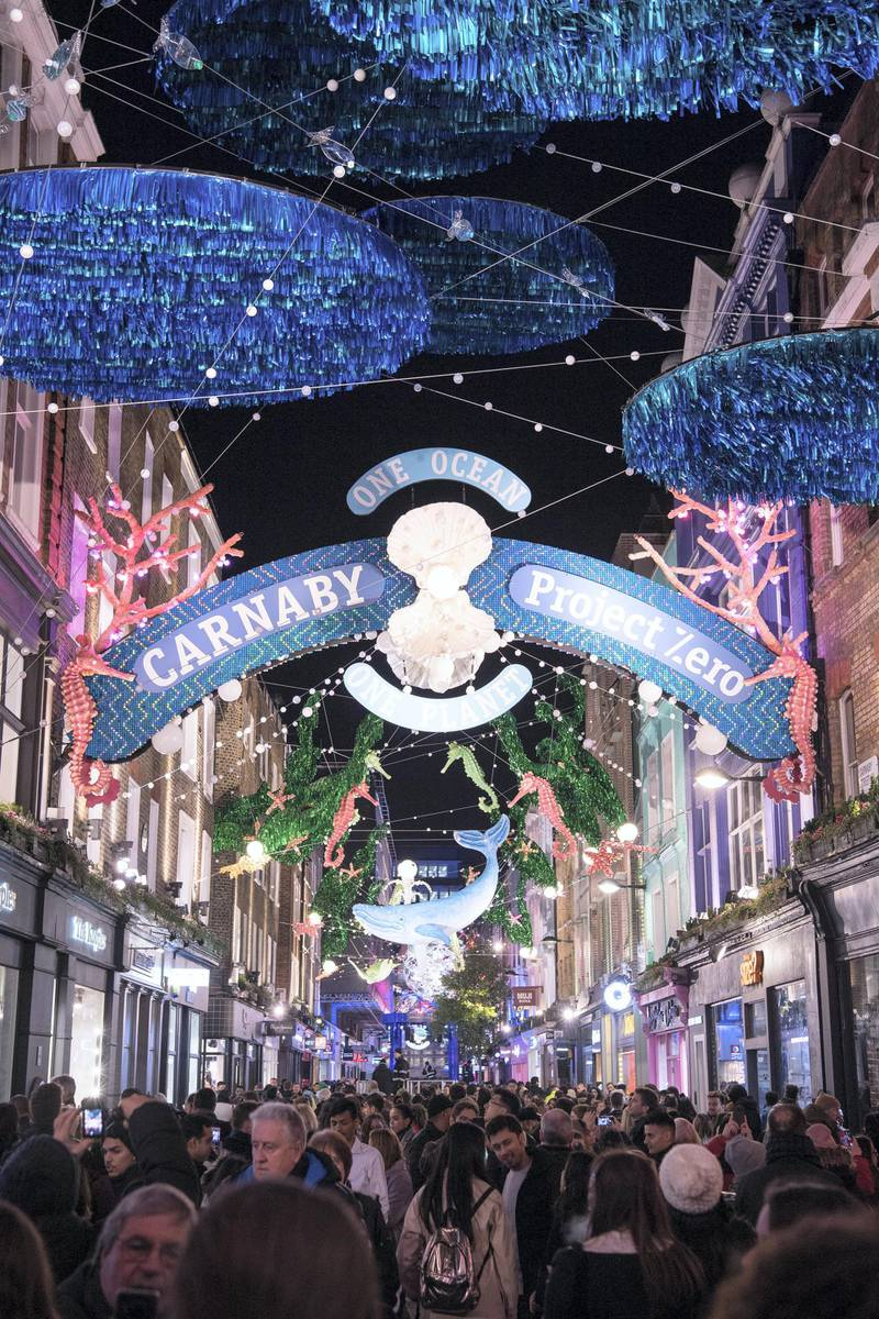 LONDON, ENGLAND - NOVEMBER 07: Carnaby Christmas installation switch-on at Carnaby Street on November 07, 2019 in London, England. (Photo by Jeff Spicer/Getty Images)