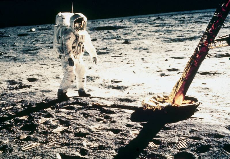UNITED STATES - MAY 30:  Aldrin is shown beside the foot of the Lunar Module. Apollo 11, carrying astronauts Neil Armstrong - Commander, Michael Collins - Command Module pilot and Edwin Aldrin - Lunar Module pilot, was the first manned lunar landing mission. It was launched on 16th July 1969 and Armstrong and Aldrin became the first and second men to walk on the moon on 20th July 1969. Collins remained in lunar orbit while Armstrong and Aldrin were on the surface. The astronauts returned to Earth on 24th July 1969.  (Photo by SSPL/Getty Images)
