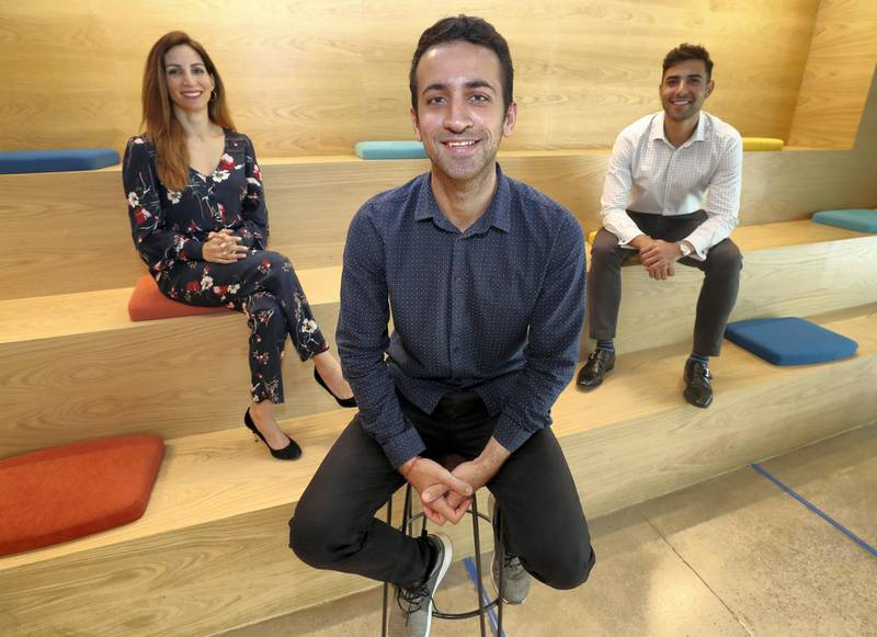 Dubai, United Arab Emirates - April 11th, 2018: L-R Nadine Mezher, Mark Chahwan, founder and chief executive officer and Danny Jabbour. A profile of Sarwa, a Fintech start up focused on low cost wealth management to offer expats a cheaper alternative to high costing insurance products. Wednesday, April 11th, 2018 at DIFC, Dubai. Chris Whiteoak / The National