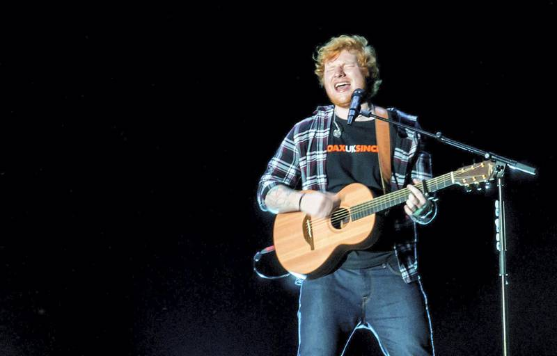 Dubai, UAE - November 23, 2017 - Ed Sheeran entertains the crowd at the Autism Rocks Arena . - Navin Khianey for The National
