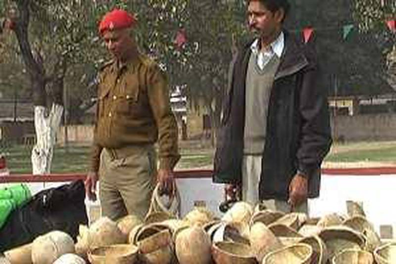 Video frame grab showing alleged bone smuggler Kamal Sah who was arrested by Bihar police January 29, 2009. Bihar was caught with 2 bags of human skulls and bones according to police.Credit:Pramod Jha
