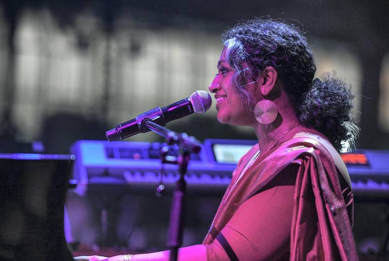 Abu Dhabi, United Arab Emirates - Annette Philip, faculty member of Berklee College of Music who is a vocalist, composer-arranger, producer, pianist and choral specialist performs at the opening night of Berklee, Abu Dhabi, Al Saadiyat. Khushnum Bhandari for The National
