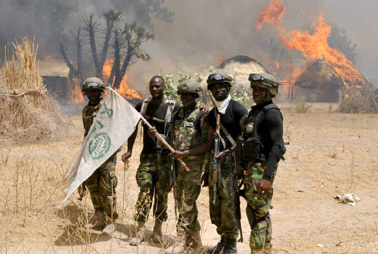 BORNO, NIGERIA - MARCH 29: Nigerian soldiers are seen after an operation against Boko Haram terrorists at a terrorist camp in Borno, Nigeria on March 29, 2016. (Photo by Stringer/Anadolu Agency/Getty Images)