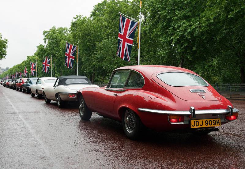 E-Type Lineup in London to mark 50TH ANNIVERSARY. Courtesy Jaguar