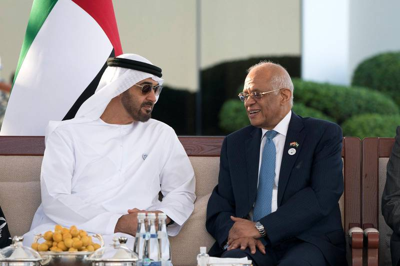 ABU DHABI, UNITED ARAB EMIRATES - February 26, 2018: HH Sheikh Mohamed bin Zayed Al Nahyan, Crown Prince of Abu Dhabi and Deputy Supreme Commander of the UAE Armed Forces (L), meets with Dr Ali Abdel Aal, Speaker of the Egyptian House of Representatives (R), during a Sea Palace barza. ( Rashed Al Mansoori / Crown Prince Court - Abu Dhabi ) ---