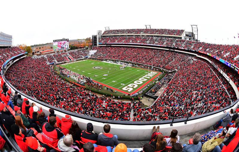 ATHENS, GA - NOVEMBER 24: A general view of Sanford Stadium during the game between the Georgia Bulldogs and the Georgia Tech Yellow Jackets on November 24, 2018 in Athens, Georgia.   Scott Cunningham/Getty Images/AFP