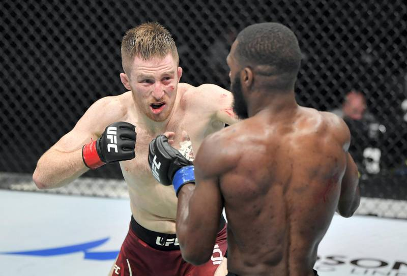 ABU DHABI, UNITED ARAB EMIRATES - JULY 19: (L-R) Brett Johns of Wales battles Montel Jackson in their bantamweight bout during the UFC Fight Night event inside Flash Forum on UFC Fight Island on July 19, 2020 in Yas Island, Abu Dhabi, United Arab Emirates. (Photo by Jeff Bottari/Zuffa LLC via Getty Images) *** Local Caption *** ABU DHABI, UNITED ARAB EMIRATES - JULY 19: (L-R) Brett Johns of Wales battles Montel Jackson in their bantamweight bout during the UFC Fight Night event inside Flash Forum on UFC Fight Island on July 19, 2020 in Yas Island, Abu Dhabi, United Arab Emirates. (Photo by Jeff Bottari/Zuffa LLC via Getty Images)