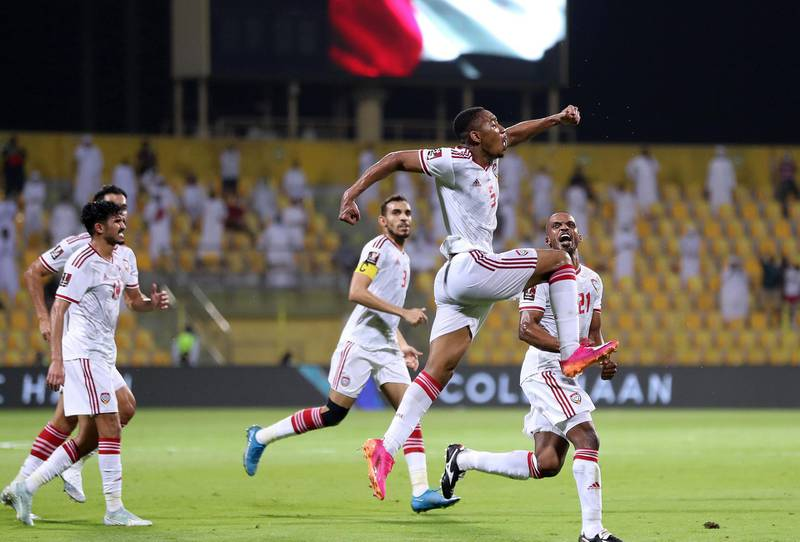 UAE's Ali Salmeen scores during the game between the UAE and Vietnam in the World cup qualifiers at the Zabeel Stadium, Dubai on June 15th, 2021. Chris Whiteoak / The National.  Reporter: John McAuley for Sport