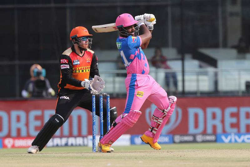 Sanju Samson (c) of Rajasthan Royals plays a shot during match 28 of the Vivo Indian Premier League between the Rajasthan Royals and the Sunrisers Hyderabad held at the Arun Jaitley Stadium, Delhi, India on the 2nd May 2021Photo by Pankaj Nangia / Sportzpics for IPL