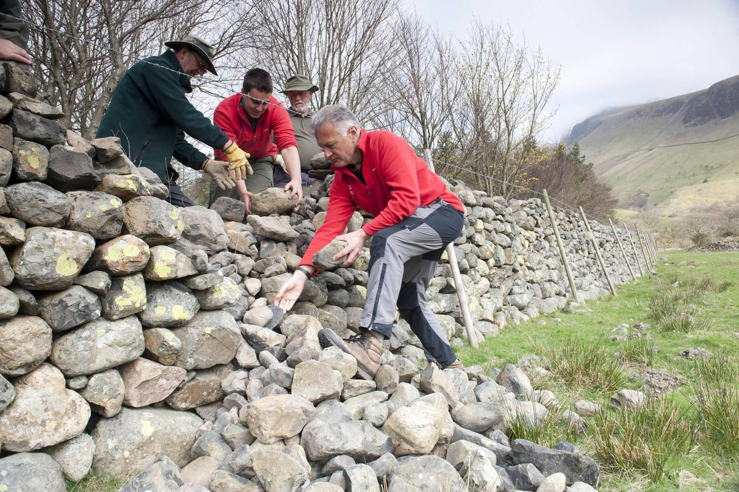 National Trust Wardens and Volunteers maintaining dry stone walls around the campsite in Wasdale, Cumbria. Paul Harris / National Trust Images