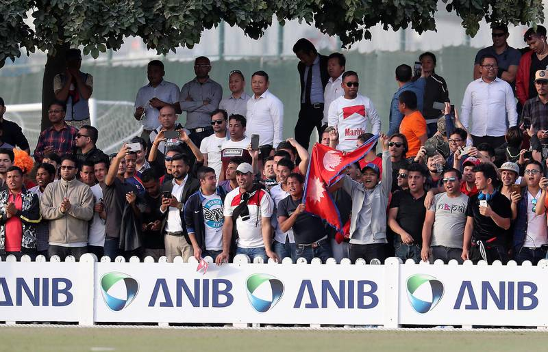 DUBAI , UNITED ARAB EMIRATES , January 28 – 2019 :- Supporters of Nepal celebrating after Nepal won the match by 4 wickets in the one day international cricket match between UAE vs Nepal held at ICC cricket academy in Dubai. ( Pawan Singh / The National ) For Sports. Story by Paul